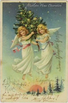Mistletoe Home Decoration: Vintage Hungarian Christmas card with angels from 1904 Christmas Postcards, Vintage Christmas Cards, Christmas Images, 31 Maj, Mistletoe, Vintage Images, Hungary, Angels, Decoration