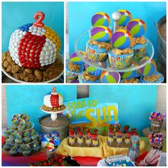 Beach Ball Birthday Party Theme Bash Red Blue Yellow Pool Water Kids Boy Girl
