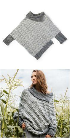 Asymmetrical Cape-Cho – Craft Ideas – Knitting patterns, knitting designs, knitting for beginners. Crochet Baby Booties, Crochet Cardigan, Crochet Shawl, Knit Crochet, Crochet Shrug Pattern, Ropa Upcycling, Knit Fashion, Knitting Designs, Crochet Clothes