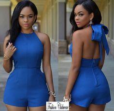 Combi-short bleu fashion avec dos nu et noeud - Fashion Clubwear