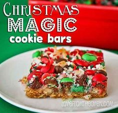 Christmas Magic Cookie Bars By using some fun Christmas colored holiday M&M's, and some festive Christmas sprinkles, your magic cookie bars take on a whole new look, and are sure to be a stand out treat. If you've never made magic cookie bars, you will be thrilled at how easy they are to make!  Magic Cookie Bar Recipe