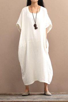 2018 Cotton Loose Plus Size Long Dress Women Dress https://www.fantasylinen.com/products/2017-cotton-loose-plus-size-long-dress-women-dress