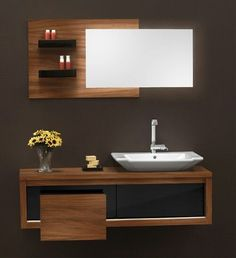 Both functional and stylish, vanity units are an elegant bathroom storage solution, allowing you to stow away all your bathroom essentials. Bathroom Design Luxury, Bathroom Design Small, Modern Bathroom, Vanity Design, Sink Design, Bad Inspiration, Bathroom Inspiration, Bathroom Countertop Design, Bathroom Cabinets