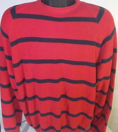 L.L. Bean Mens Size Large Striped Vintage Crewneck Sweater Made In USA #LLBean #Crewneck