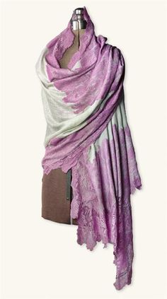 Victorian Cashmere & Silk Blend Lace Fashion Wrap
