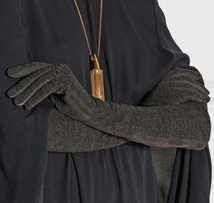 Lanvin - Paneled suede and jersey gloves Valentino Dress, Lanvin, Tassel Necklace, Cashmere, Gloves, Pairs, Shopping, Collection, Cape