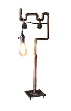 Aged copper table lamp with iron base. by ParisEnvy on Etsy, $220.00
