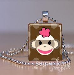 Sock Monkey Necklace SMA2  Brown Polka Dots  by SugarLaneShoppe, $6.95