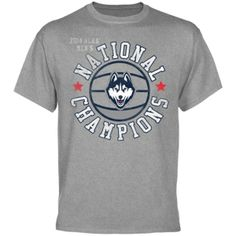 UConn Huskies 2014 NCAA Men's Basketball National Champions Vintage Play T-Shirt – Heather Gray