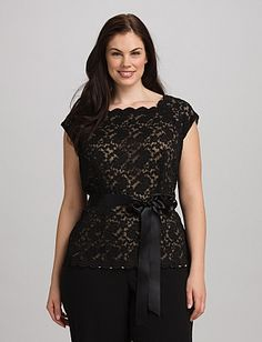 Belted Lace Top.  Store: Dressbarn.  (SKU # 2959924.)  $52.00.  In black only.  [Appropriate for either event if paired with the Palazzo pants.  Would also be fine with a black sweater over it.  There is a neutral colored underlay - it's not see-through.]