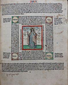 """Salvator Mundi from Rolevinck's """"Fasciculus temporum"""" (1474), with manuscript annotations."""