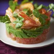 Salade de crevettes, pamplemousse et avocat - une recette Crustacé - Cuisine