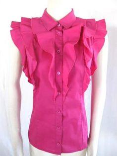 ESCADA SPORT^ Bright Pink COTTON STRETCH RUFFLE SLEEVELESS BLOUSE~42/12 $77.00