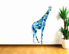 Giraffe Wall Decals, Blue Giraffe Decals,Geometric Pattern giraffe, Tall giraffe decal, animal wall decal, safari animal, baby shower gift