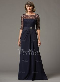 Mother of the Bride Dresses - $135.11 - A-Line/Princess Scoop Neck Floor-Length Chiffon Mother of the Bride Dress With Lace Crystal Brooch (0085055956)