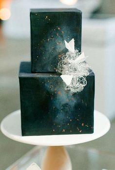 Modern Black Wedding Cake | Brides.com