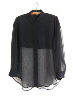 18cae5b34cf37 Button Ups   Blouses · See Through Sleeves and Torso Gauzy 90s Romantic  Goth Long Exclusively sold by  BUDDYBUDDY VINTAGE