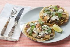 Summer Vegetable & Queso Tostadas with Islander Pepper, Fairy Tale Eggplants & Spicy Crema Sauce