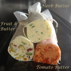 Compound Butter Recipe: herb butter, a tomato butter and a fruit-and-nut butter.  Herb Butter  2 tsp chopped thyme  2 tsp chopped chives  ¼ tsp fleur de sel  ¼ tsp crushed peppercorn  2 tsp lemon zest  ½ cup butter, at room temperature.............continued