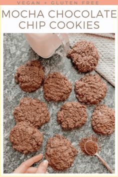 If you are a coffee and chocolate lover then you have to try these Mocha Chocolate Chip Cookies. They are irresistibly good, with the flavour of coffee and dark Quick Healthy Desserts, Healthy Cookie Recipes, Great Desserts, Healthy Cookies, Dog Food Recipes, Dessert Ideas, Sweet Recipes, Yummy Recipes, Vegan Recipes
