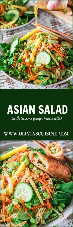 refreshing and nutritions Asian Salad made with spinach, watercress, carrots, broccoli stems, mango, cucumbers, edamame, crushed peanuts and a delicious sesame ginger vinaigrette!