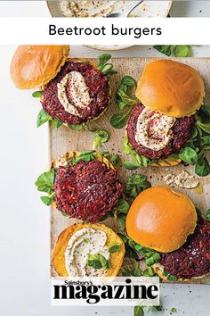 A yummy vegetarian bbq recipe that will satisfy the whole family, these beetroot and goats' cheese burgers are a wonderful and healthy beef alternative. Try them at your next summer barbecue or garden party. Get the Sainsbury's magazine recipe Sizzling Recipe, Curry In A Hurry, Cheeseburger Recipe, Midweek Meals, Vegetarian Dinners, Easy Family Meals, Beetroot, Light Recipes, Soup And Salad