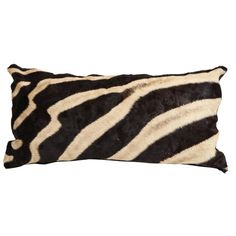 Chocolate Brown Zebra Hide Pillow with Leather Backing