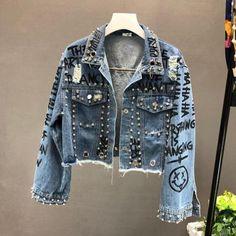 2019 New Autumn Beading Diamond Graffiti Printed Short Denim Coat Pockets Casual Women Cowboy Jeans Outerwear Trend Fashion, Denim Fashion, Fashion Outfits, Jackets Fashion, Fashion Shirts, Fashion 2018, Emo Fashion, Modest Fashion, Fashion Watches