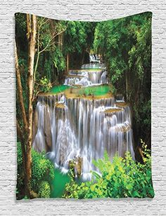 Ambesonne Waterfall Decor Collection Stunning View of Waterfall in Kanjanaburi Stream Crossing Forest Image Bedroom Living Kids Girls Boys Room Dorm Accessories Wall Hanging Tapestry Green Brown *** Click image for more details.