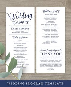 Create your own navy wedding programs in minutes with this easy-to-use wedding ceremony program template. Wedding Ceremony Script, Wedding Ceremony Decorations, Wedding Programs, Rustic Wedding, Wedding Timeline, Wedding Hashtag Sign, Wedding Signs, Wedding Invitation Cards, Wedding Cards