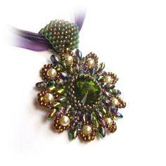 STUNNING!!   Beaded Crystal Rivoli Pendant by CreativeTreasuresUK on Etsy, £18.00