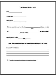 Termination Notice Printable for Child Care