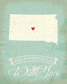 South+Dakota+map+art+state+poster+8+x+10+by+TheNoblePig+on+Etsy,+$14.00