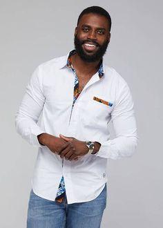 Obasi African Print Long Sleeve Button-Up (White/Navy Orange Tiles) African Wear Styles For Men, African Shirts For Men, African Dresses Men, African Suits, Modern African Clothing, African Clothing For Men, African Print Fashion, African Print Shirt, Man Skirt