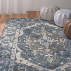 Bungalow Rose Gooden Hand-Tufted Wool Dark Blue Area Rug Rug Size: Rectangle x Rug Shapes, Beige Area Rugs, Vibrant Rugs, Tufted, Blue, Rugs, Oriental Persian Rugs, Blue Area Rugs, Rugs Online