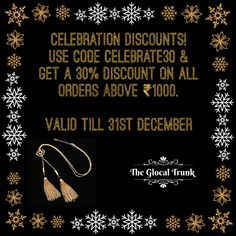 #FestiveOffers like never before 🎉! Shop now: www.theglocaltrunk.com #limitedtimeonly #wintersale #christmasshopping #onlineshopping #costumejewellery #fashionjewellery #onlinestore #discounts #promotions #india #theglocaltrunk #tgt