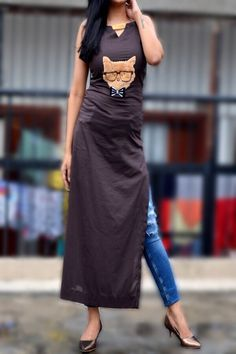 Buy Brown Viscose Straight Kurti by Colorauction - Online shopping for Kurtis in India Simple Kurta Designs, Kurti Neck Designs, Kurta Designs Women, Kurti Designs Party Wear, Blouse Designs, Indian Attire, Indian Outfits, Kurti With Jeans, Kurti Styles