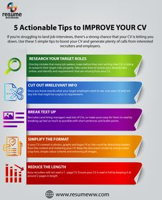 5 Actionable Tips To Improve Your CV Basic Resume, Resume Work, Resume Writer, Resume Help, Professional Resume, Find Work, Find A Job, Resume Maker, Resume Writing Services
