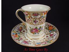 Hand Painted Dresden Flower Porcelain Chocolate Cup & Saucer - Thieme from astimegoesby on Ruby Lane