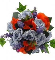 A cottage garden style wedding bouquet handmade with silk and artificial flowers. Featuring in this bouquet are light blue foam roses, deep lilac lavender Wedding Bridesmaids, Wedding Bouquets, Lilac, Lavender, Light Blue Roses, Orange Poppy, Foam Roses, Green Rose, Rose Wedding