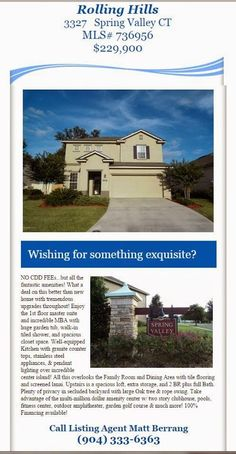 New Listing Alert: 3327 Spring Valley Ct brought to you by INI Realty Investments, Inc., the first 100% Commission Real Estate Office in Jacksonville, FL. www.100RealEstateJax.com