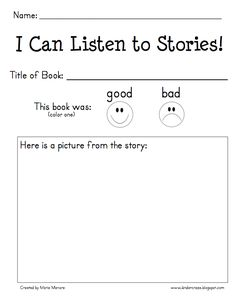 Classroom Freebies Too: I Can Listen to Stories Response Form