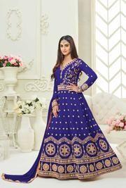 Shop semi stitched royal blue tafeta silk anarkali salwar suit , freeshipping all over the world , Item code Buy Salwar Kameez Online, Indian Salwar Kameez, Patiala Dress, Anarkali Suits, Punjabi Fashion, Indian Fashion, Punjabi Suits Online Shopping, Designer Anarkali, Indian Dresses