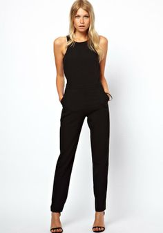 Love Love LOVE this look! Super Chic and Sexy Black Plain High Waist Long Dacron Jumpsuit Pants #Sexy #Black #Jumpsuit #Summer #Fashion