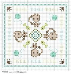Cross-stitch Cat biscornu ... no color chart available, just use the pattern chart as your color guide.. or choose your own colors...