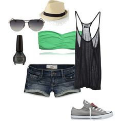 Very cute summer look. It's comfy + casual & makes a perfect beach outfit :) Summer Wear, Spring Summer Fashion, Summer Outfits, Casual Outfits, Beach Outfits, Summer 3, Style Summer, Summer Shorts, Summer Clothes