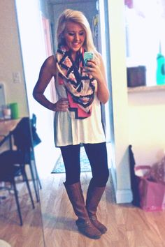 Outfit of the night:  Aztec print scarf + backless long tank + leggings + riding boots