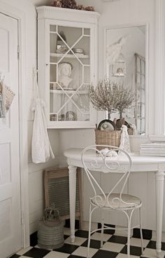 cute corner cabinet, desk, and floor Kinds of reminds me of an old fashion vintage look