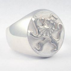 Sterling Silver Lion Signet Ring