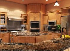 Image Result For Images Of Oak Cabinets With Granite Countertops And Black Liances Countertop Edges